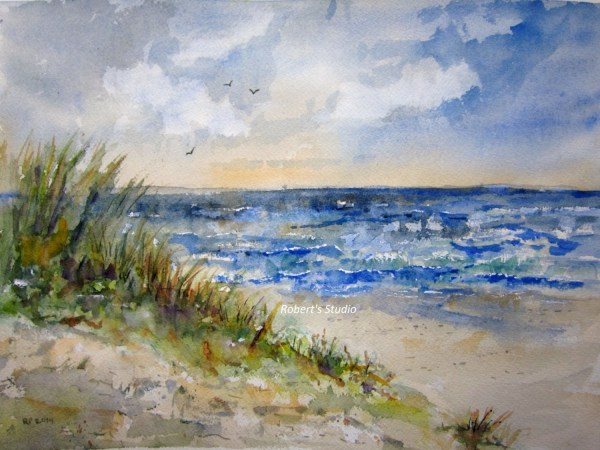 Beachscape Print Of Watercolor Landscape Painting