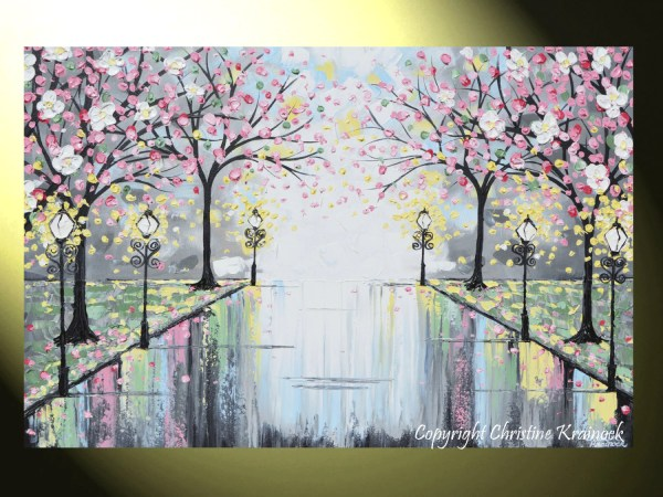 Art Prints Abstract Painting Pink Blossoming Cherry Trees
