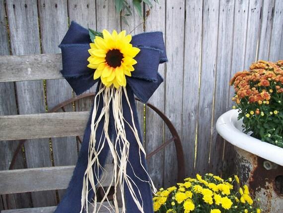 Sunflowers Sunflower And Denim Pew Bow Sunflower Wedding