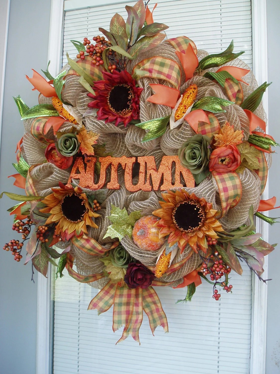 AUTUMN Natural Burlap Deco Mesh Wreath Fall Burlap By