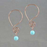 Scroll dangling wiring earring handmade US free shipping Anni