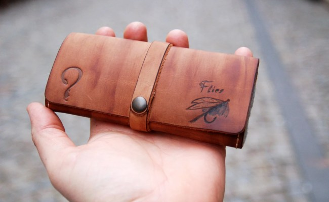Unique Fly Fishing Leather Wallet Personalized With