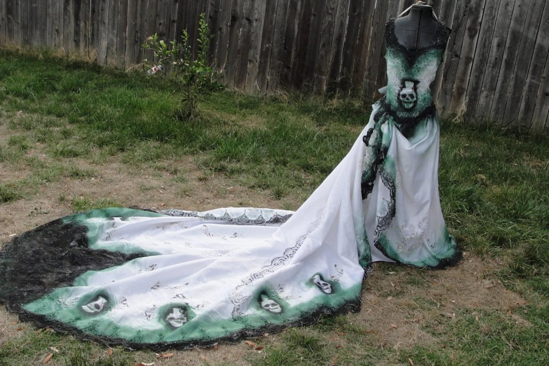 Large Size 14 16 Hand Painted Sugar Skull Skeleton Wedding