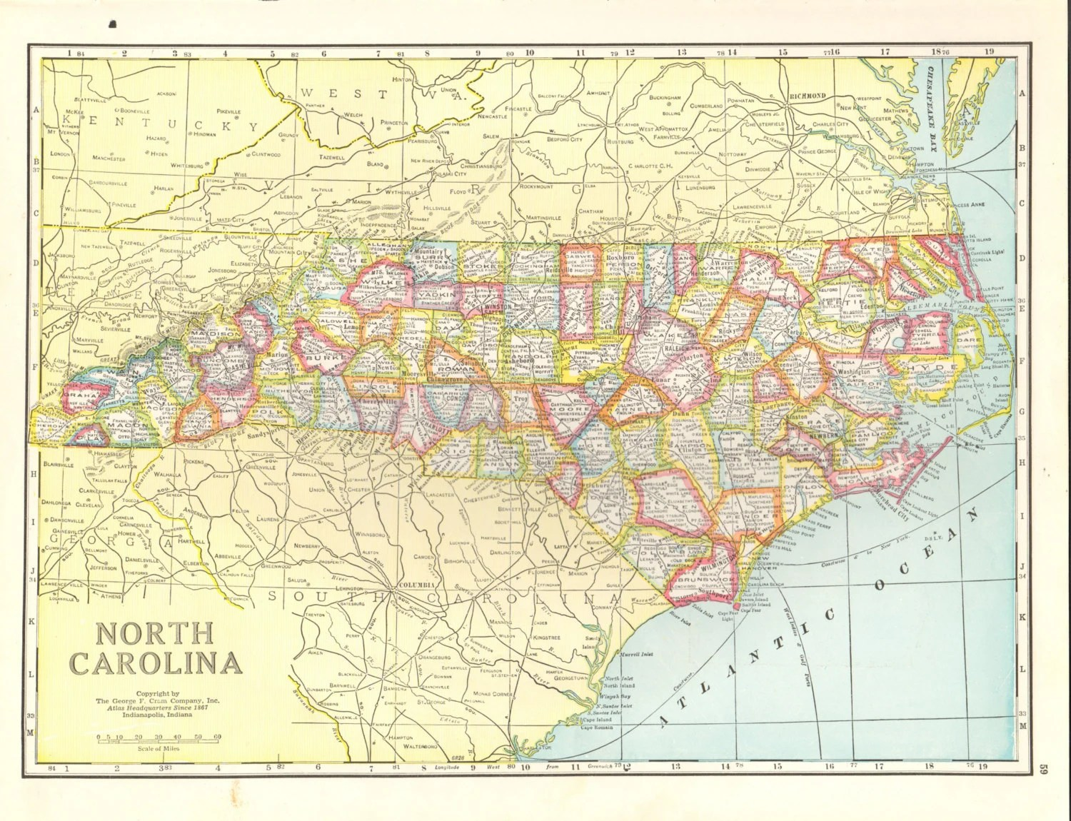 Vintage Map Of North Carolina 15x11 5 Inches Large Bookplate