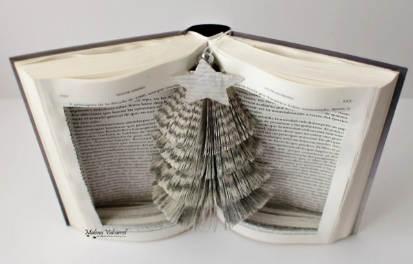 Book Art Christmas Tree Sculpture Altered