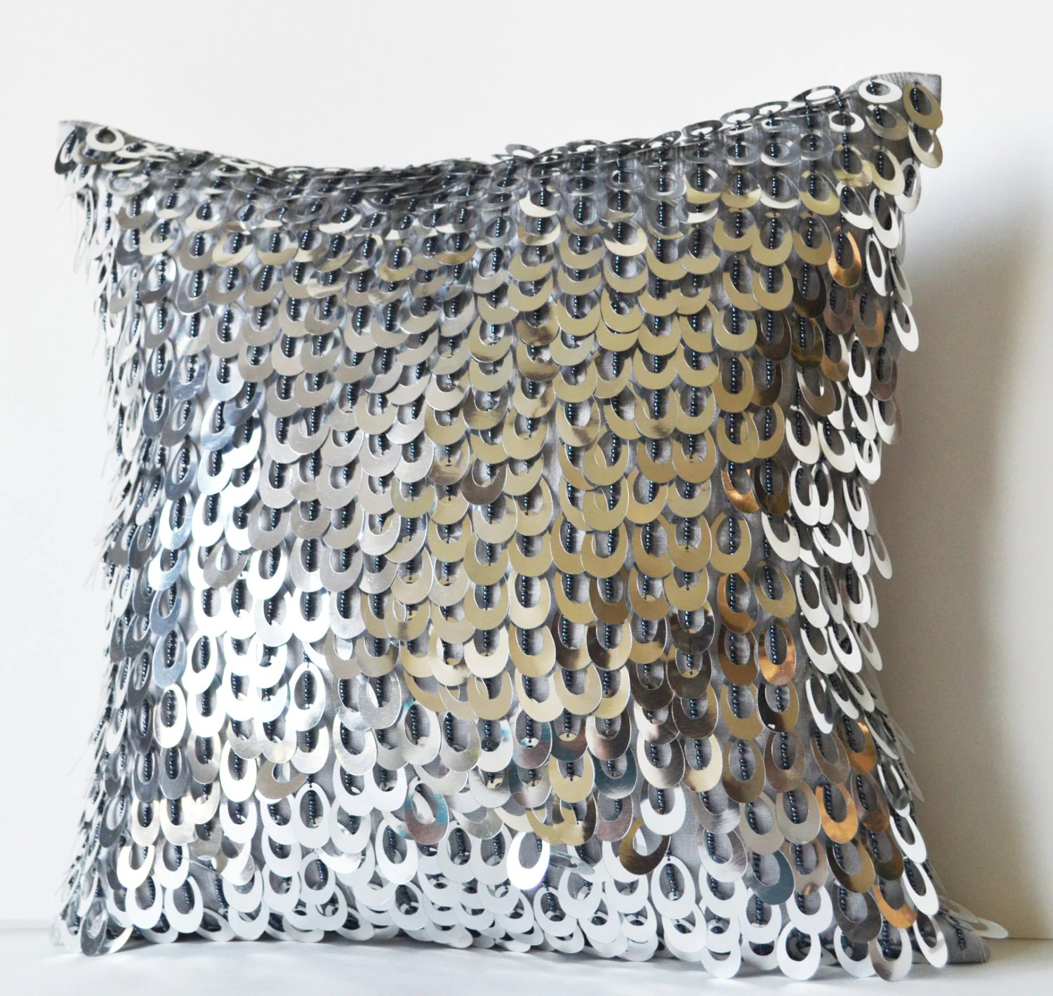 Decorative Throw Pillow Cover with Metallic Sequins Beads