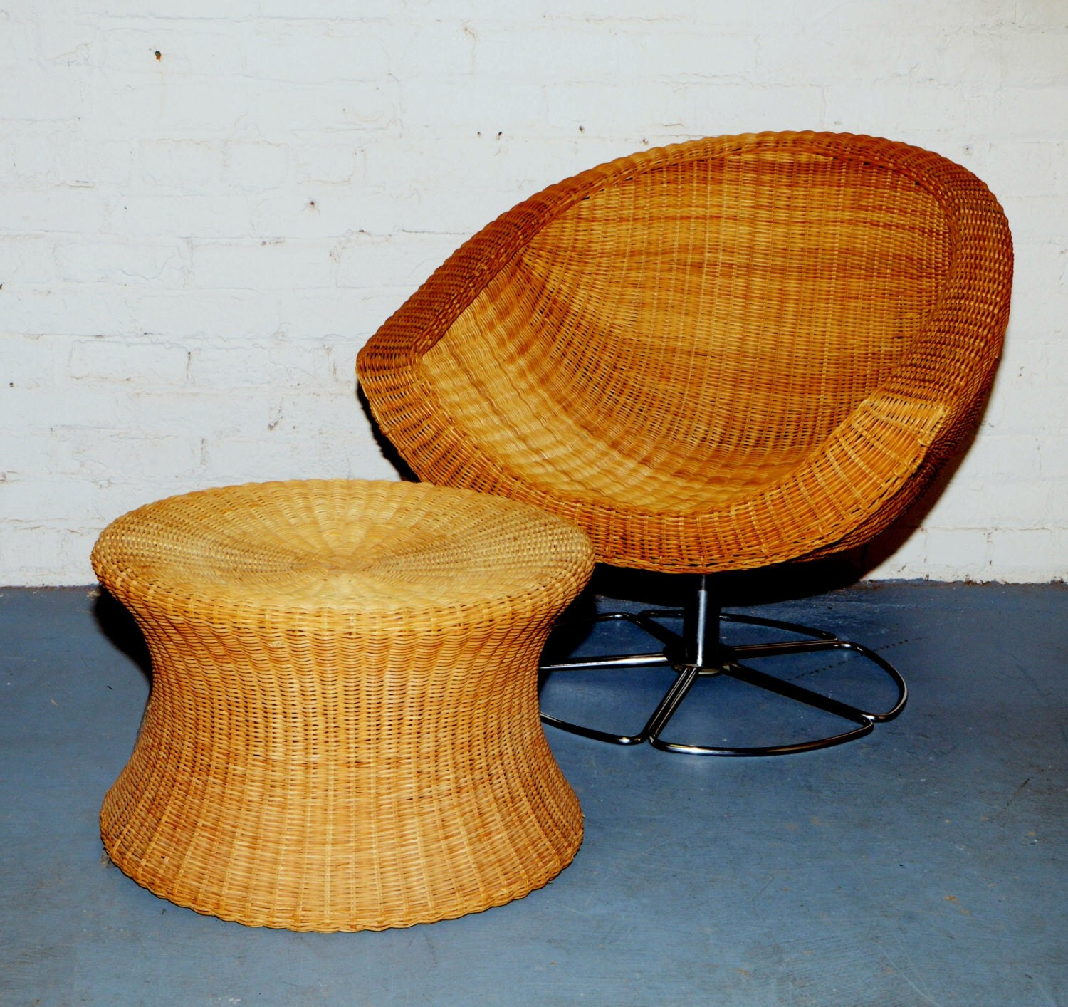 Wicker Swivel Chair Sold 1970 39s Wicker Coconut Swivel Chair W Chrome Base And