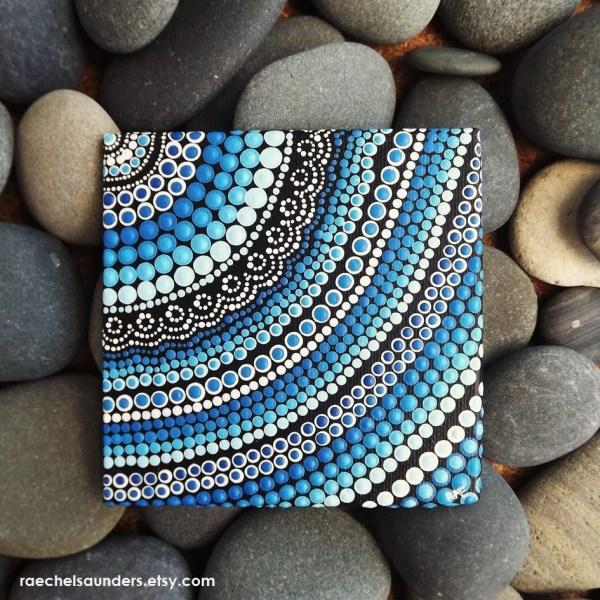 Water Art Aboriginal Dot Hand Painted Original Acrylic