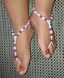 Pink Crystal Baby Barefoot Sandals Flower Girl