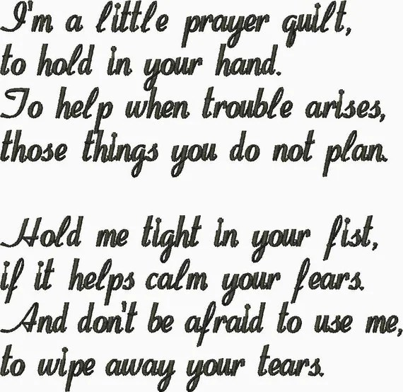 Quilt label I'm a Little Prayer Quilt to hold in your Hand