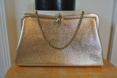 1960s Gold Lame Clutch Ornate Clasp Formal Cocktail Handbag