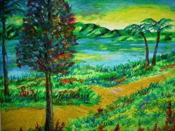 Oil Pastel Landscape Drawing Original 14x17 Bristol Board