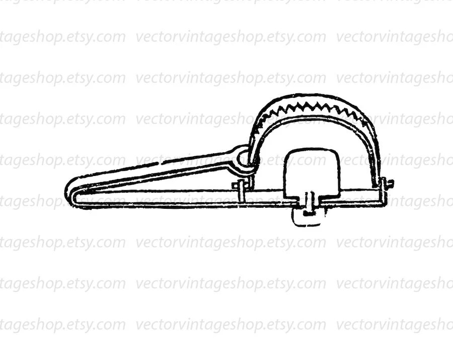 Steel Trap Vector Graphic Instant Download Clipart