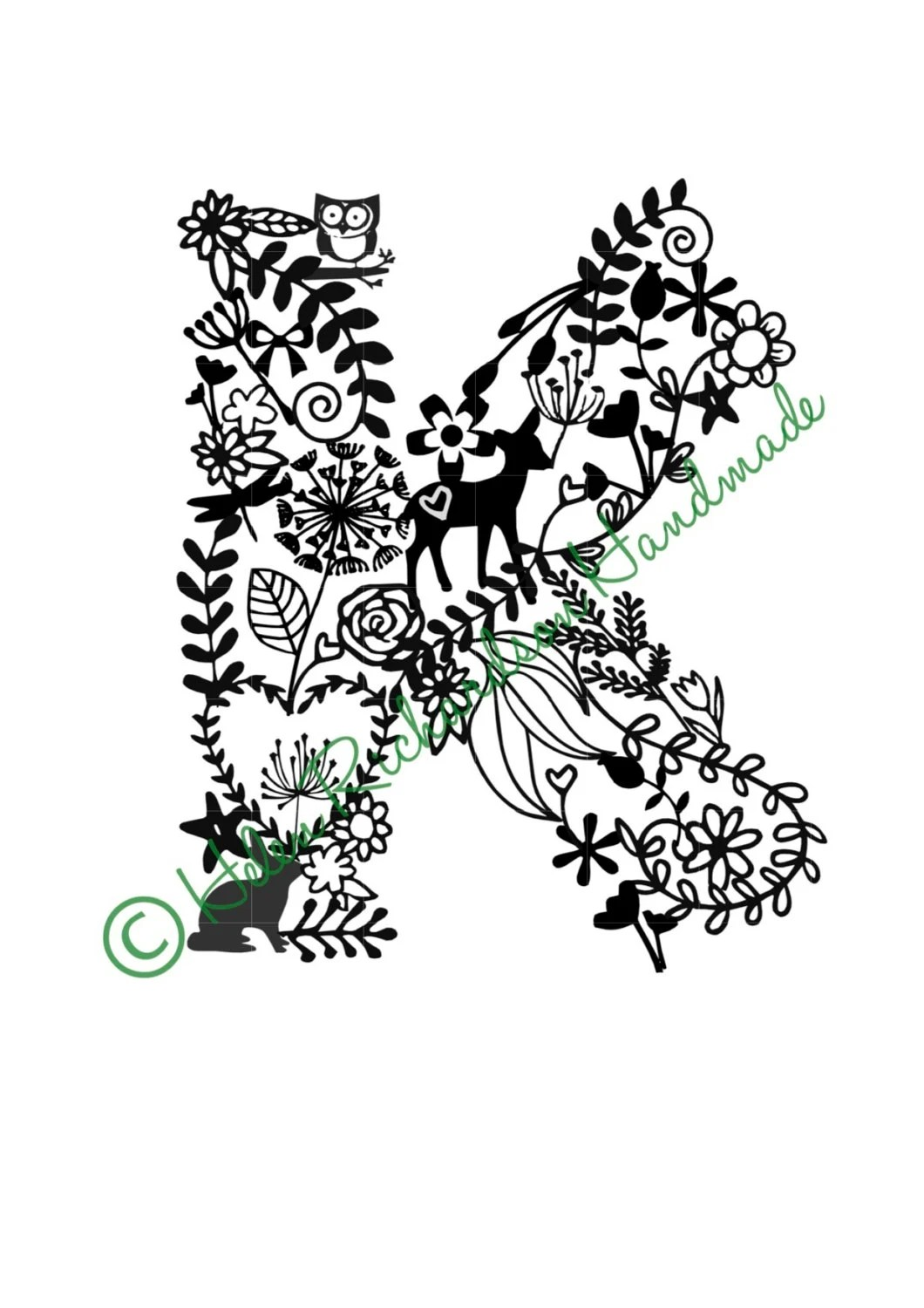 Floral Alphabet letter K paper cutting template for