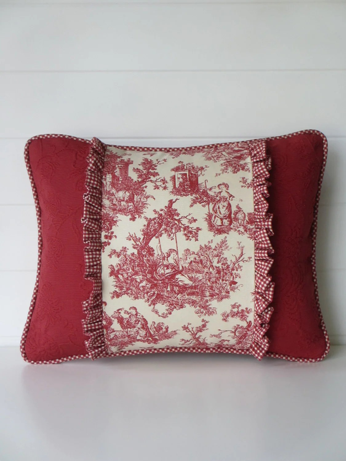 french country kitchen chair cushions aluminum chaise lounge chairs pillow cover toile cushion red
