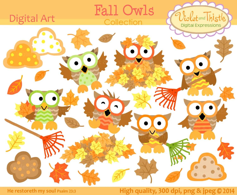 Fall Owl Clipart Clip Art Fall Owls Clipart Oak Maple Leaves