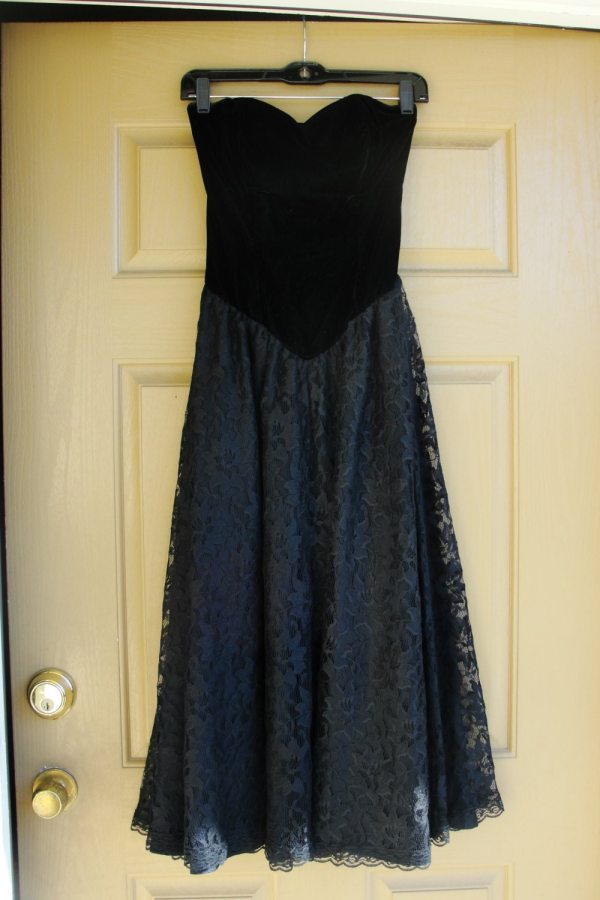 Vintage 80s Formal Prom Dress Positively Ellyn Strapless