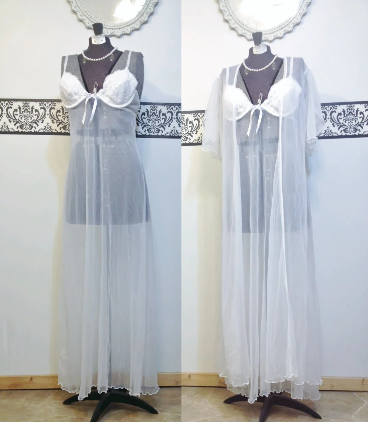 Vintage Sheer White Floor Length Pin Up Nightgown  Peignoir