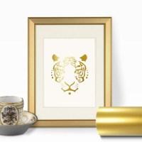 Items similar to Tiger Face Gold Foil Wall Art Print