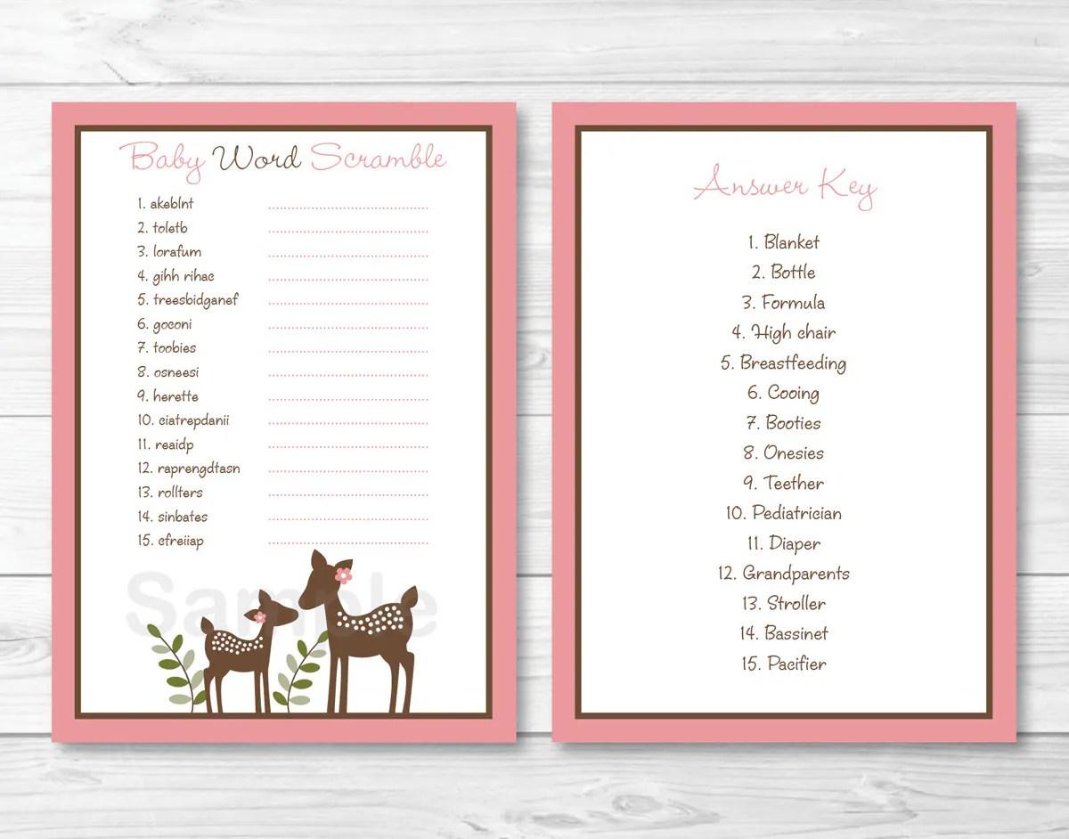 Cute Pink Deer Baby Shower Word Scramble Deer Baby Shower