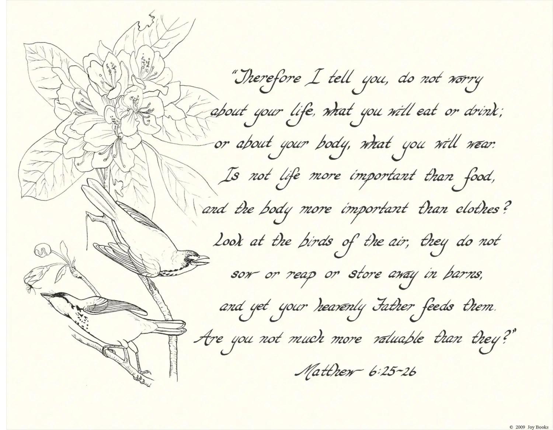 Matthew 6 25 26 11x14 Hand Written Calligraphy Art Print