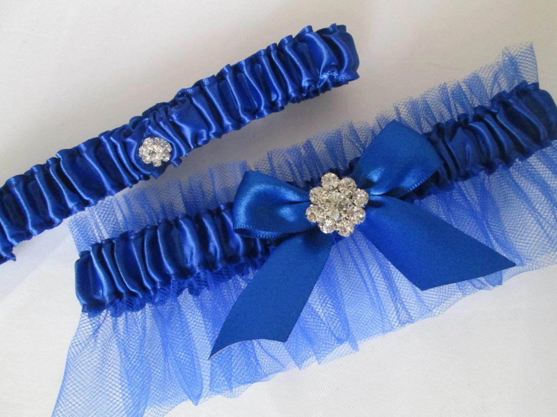 Royal Blue Wedding Garter Set Something Blue Garters Royal