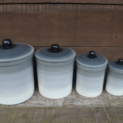 Kitchen Pottery Canisters Interior Designs For And Living Room One Of A Kind Set 4 Gray Ombre Ceramic Canister With