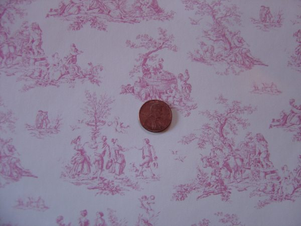 Dollhouse Pink And White Toile Wallpaper Miniature 1 12 Scale
