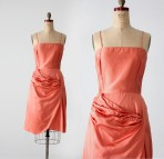 1960s Draped Satin Cocktail Dress