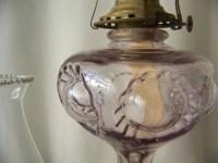 Antique Oil Lamp Purple Glass Bullseye Ruffled by