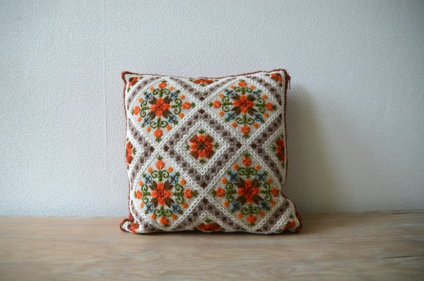 Vintage Embroidered Pillow Cover 14x14 Cross Stiched