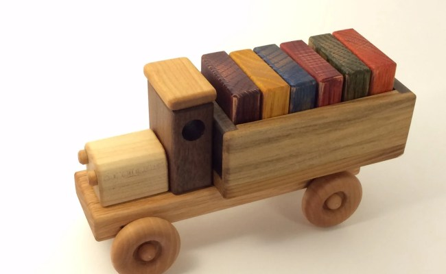 Wooden Toy Truck W Colored Blocks