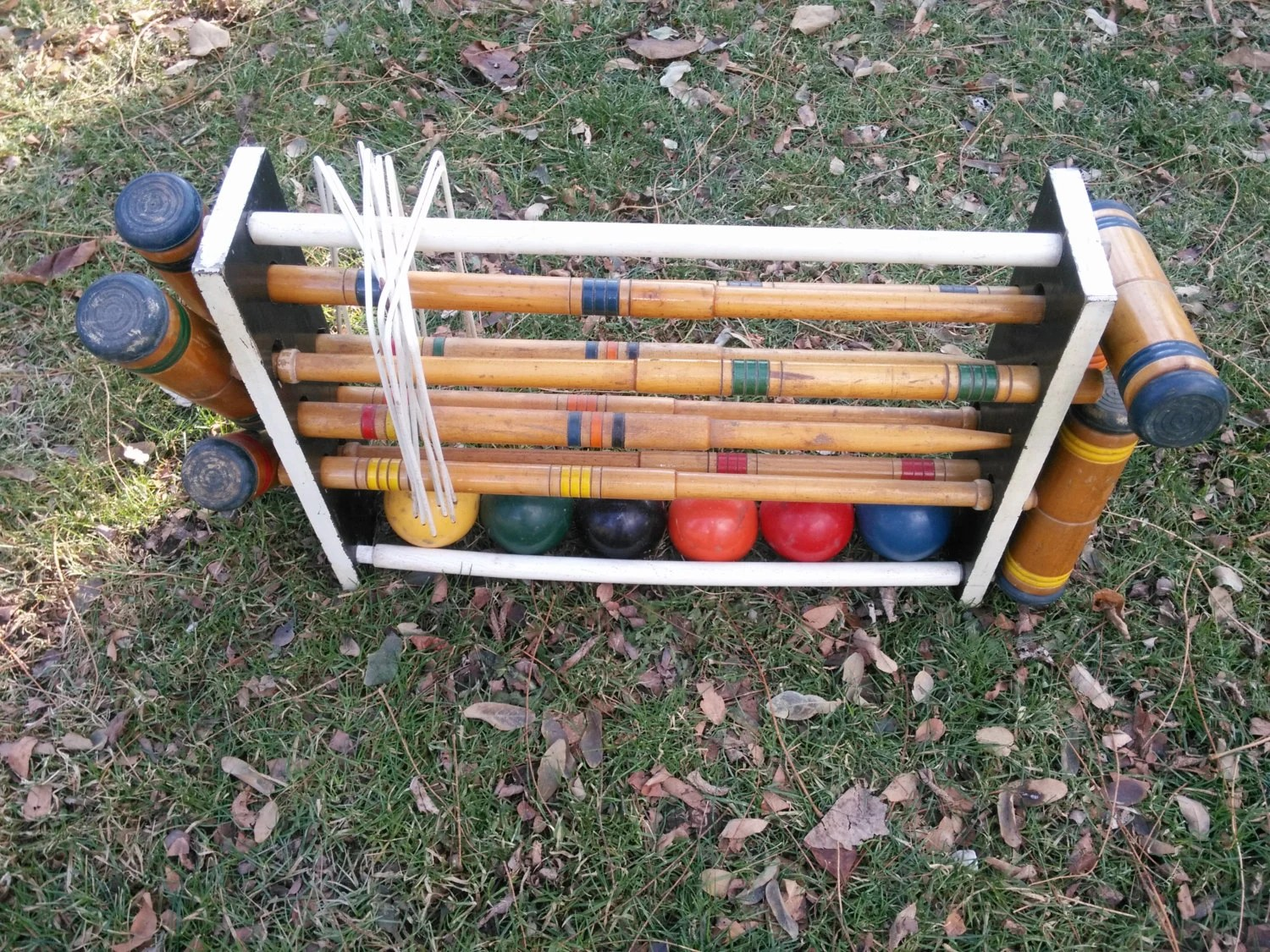 Vintage Wood Six Player Croquet Set With Wood Holder