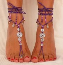 Purple Spiral Barefoot Sandals Foot Jewelry Hippie Sandal Toe