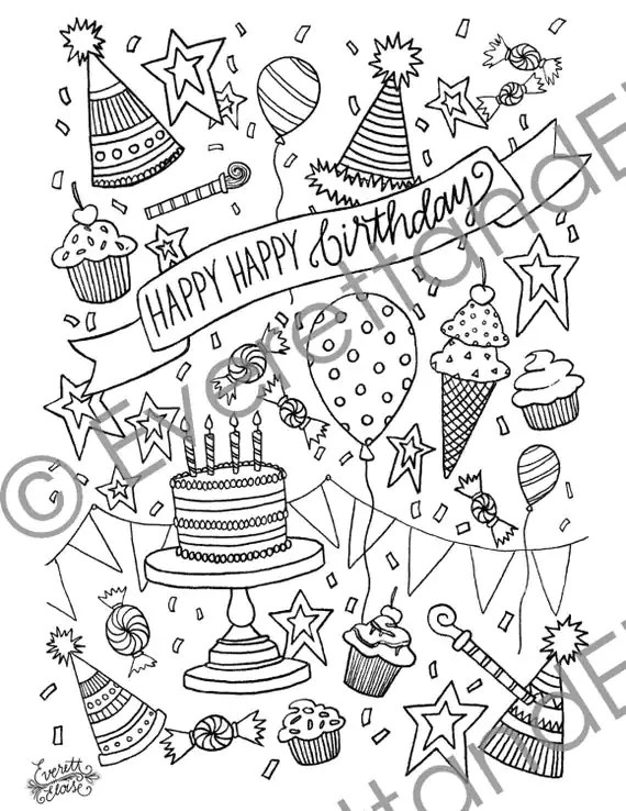 Digital Download Happy Happy Birthday Coloring