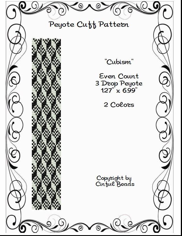 Peyote Bracelet pattern Geometric Design Optical Illusion