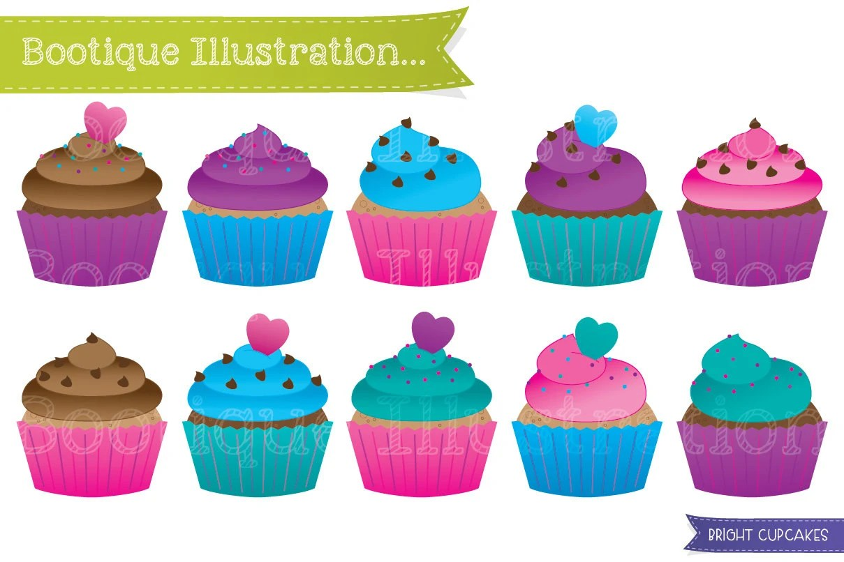cupcakes clipart set. bright cup