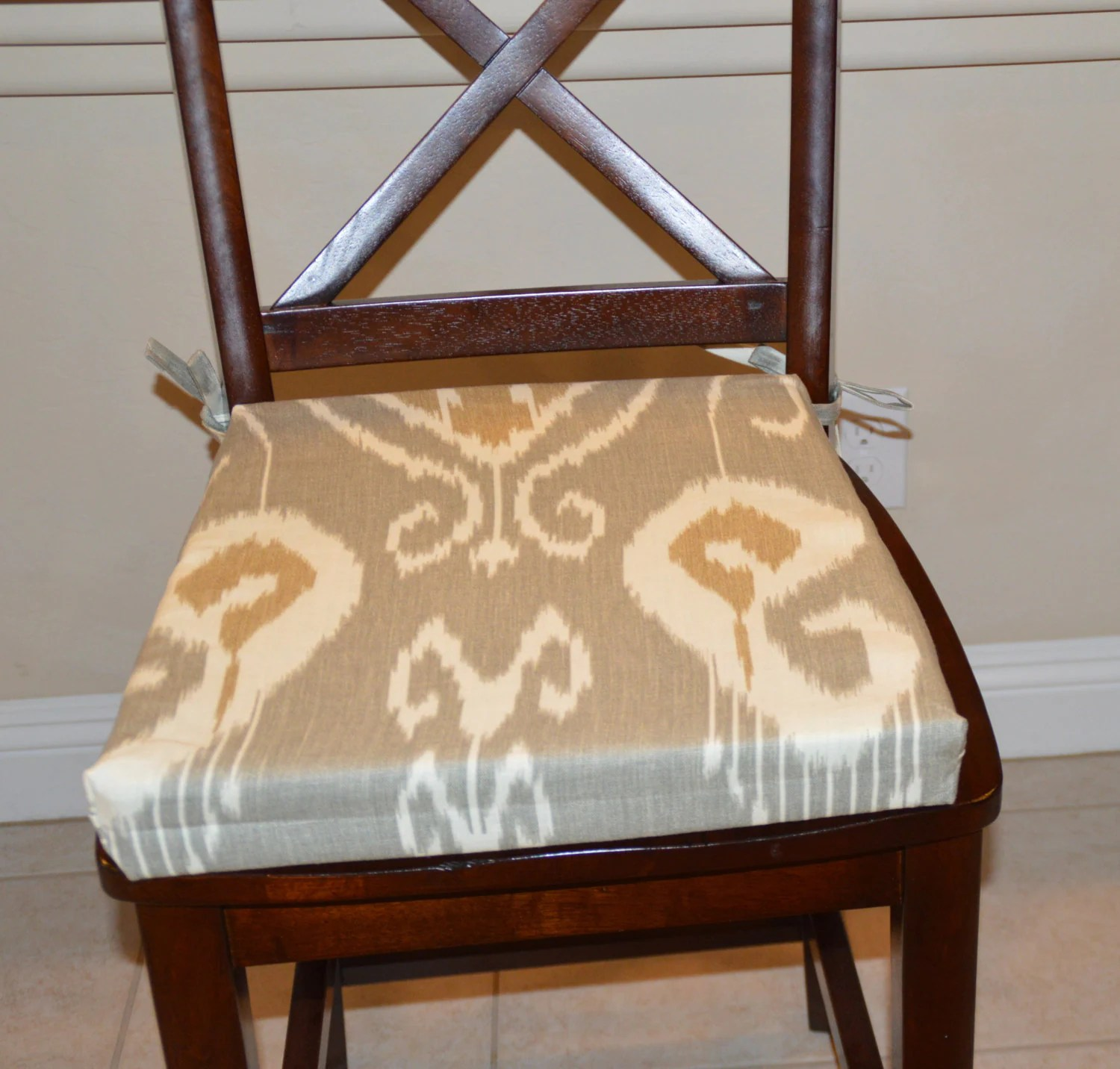 Chair Pad Covers Ikat Gray Fabric Seat Cushion Cover Kitchen Chair Pad Cover