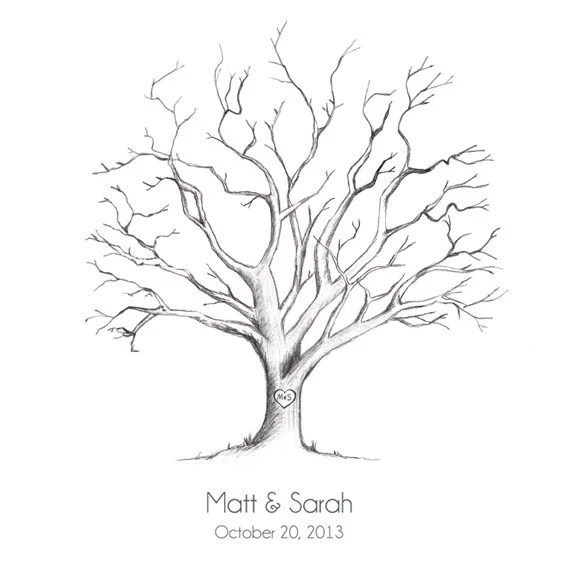 Printable HandDrawn Wedding Fingerprint Tree Guestbook PDF