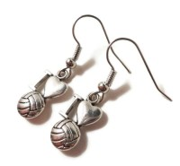 I Love Volleyball Earrings Silver Volleyball Charm Earrings