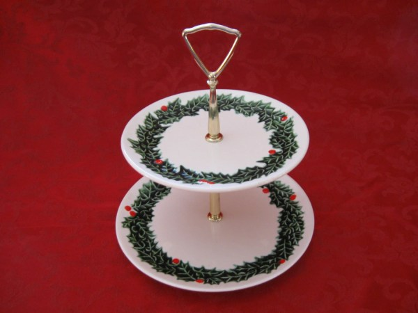 Collectible Vintage Lefton Christmas Holly Two Tier Serving