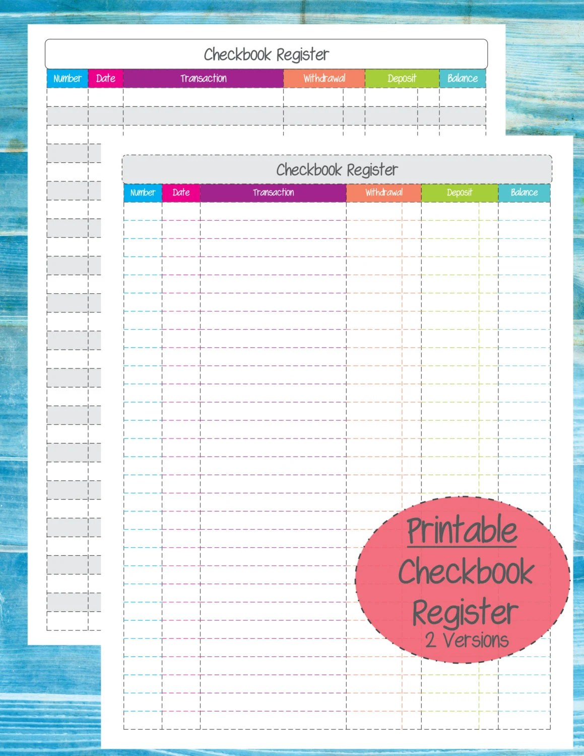 Printable Checkbook Register By Mariereneecreations On Etsy