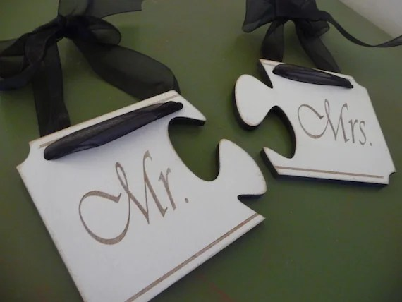 Unique Wedding Sign Mr And Mrs Wedding Sign Puzzle Connect