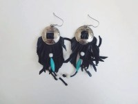 Vintage fringe concho earrings native style bead and leather