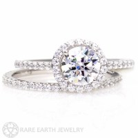 14K Diamond Halo Moissanite Engagement Ring Wedding Set