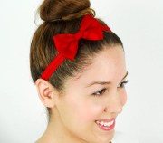red headband hair bow stretchy