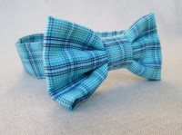 Boys Bow Tie Plaid Teal Bow Tie Newborn Photo Prop Plaid