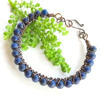 Blue beaded bracelet - lapis lazuli gemstones & copper wire wrapped bangle