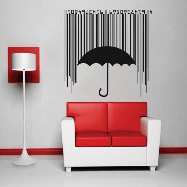 Bar Code Umbrella Vinyl Wall Decal Mural Sticker Modern