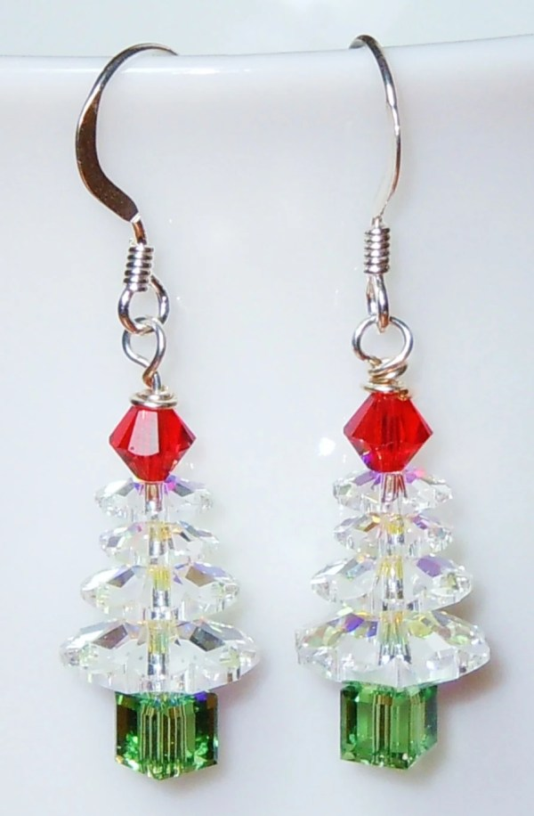Swarovski Crystal AB Christmas Tree Earrings